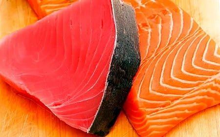 atun rojo y salmón