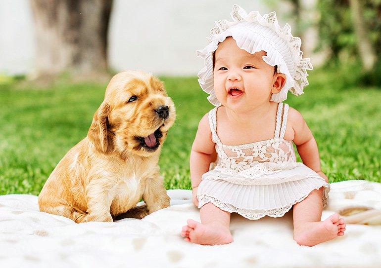 bebé-disfrutando-de-la-compañia-de-un-perrito