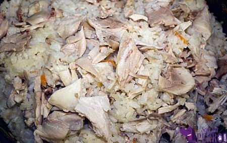 mezcla de arroz con pollo y zanahoria cocido