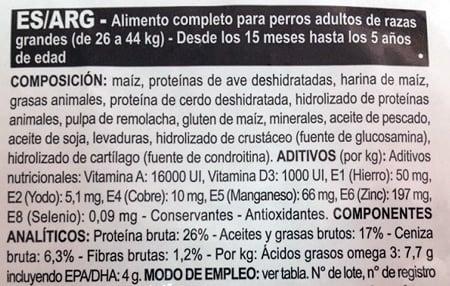 etiqueta de ingredientes del pienso para perros